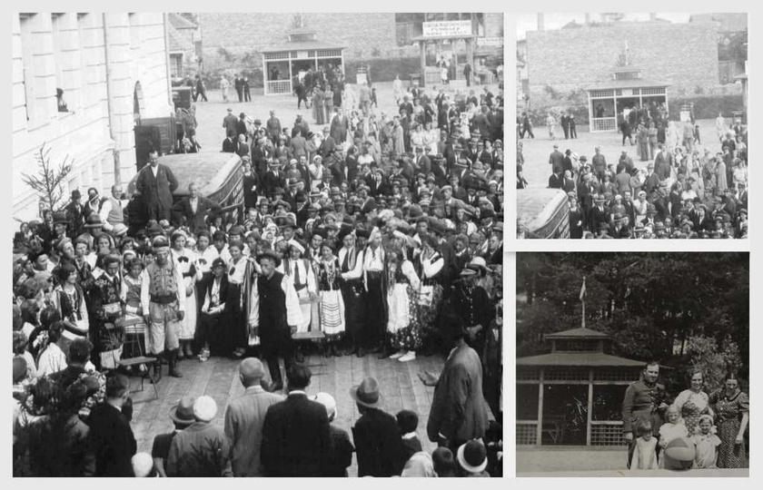 Sierpień 1934 roku, na dziedzińcu Szkoły Powszechnej (S.P. nr 2) odbywa się impr..., stare zdjęcia -