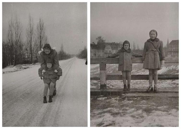 """Rok ok 1957. Na pierwszym zdjęciu ostrzeszowska """"autostrada"""",na drugim drewniana..., stare zdjęcia -"""