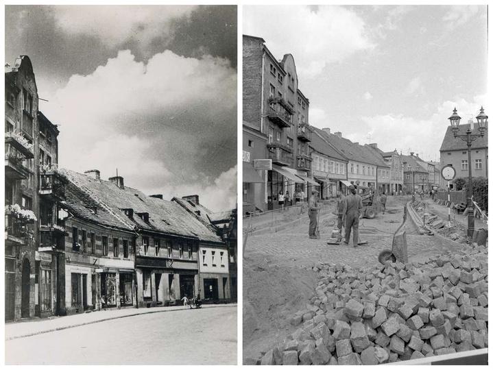 Lata sześćdziesiąte, ulica Sikorskiego. Kamienica ze sklepem nabiałowym należała..., stare zdjęcia -