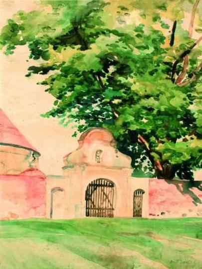 Antoni Serbeński  - Klasztorna brama, akwarela, stare zdjęcia -