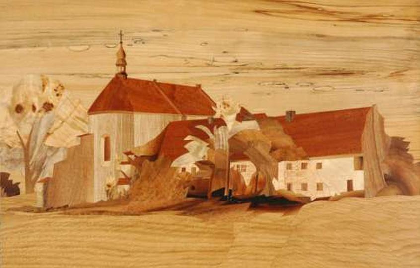 Klasztorek - intarsja, stare zdjęcia -