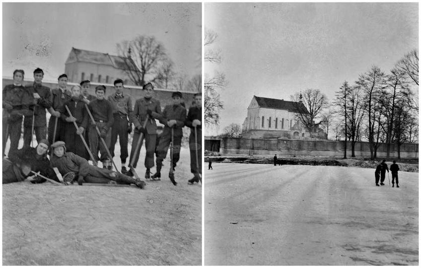 Początek lat pięćdziesiątych, zamarznięty przyklasztorny staw i chłopcy z gimnaz..., stare zdjęcia -