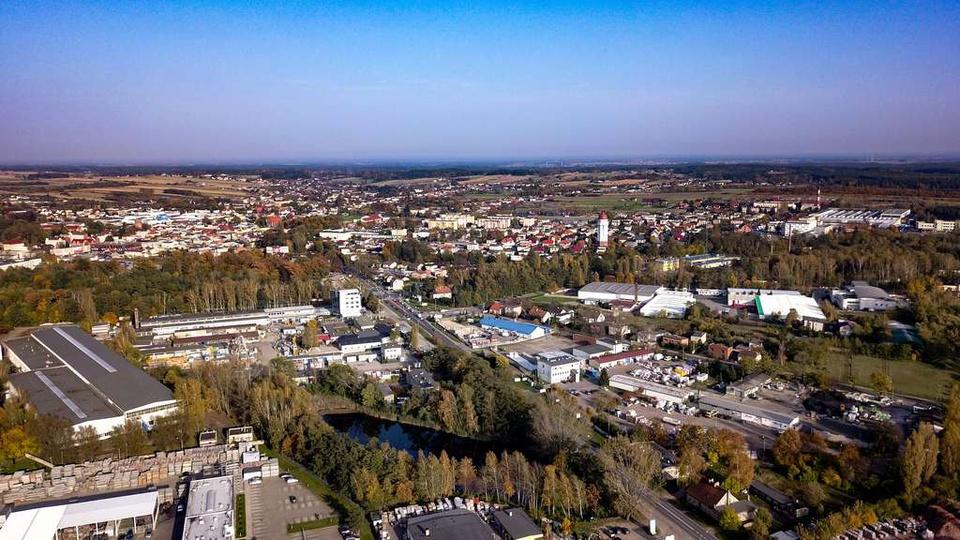 Widok na Ostrzeszów z okolic ul. Kościuszki, stare zdjęcia -