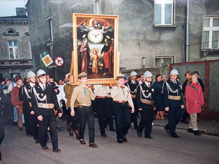 1 października 1995r. Nawiedzenie Ostrzeszowa przez obraz Św. Józefa z kaliskieg..., stare zdjęcia -
