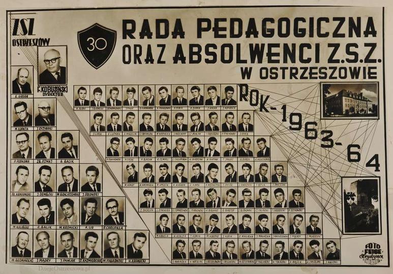 Rada Pedagogiczna oraz Absolwenci Zasadniczej Szkoły Zawodowej w Ostrzeszowie. R..., stare zdjęcia -