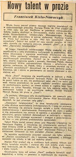 Artykuł  z 1969 roku o młodym Marianie Pilocie, późniejszym laureacie literackie..., stare zdjęcia -