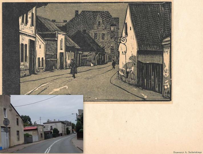 Drzeworyt Antoniego Serbeńskiego przedstawiający ulicę Ogrodową (obecnie Daszyńs..., stare zdjęcia -