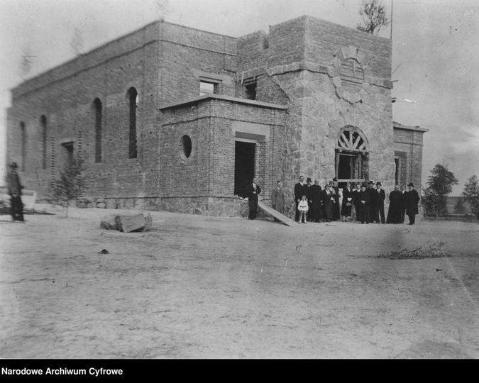 Rok 1933, budowa kościoła w Mąkoszycach., stare zdjęcia -