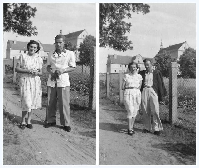 Lata pięćdziesiąte, ulica Leśna, w tyle widoczny klasztor i kościół pobernardyńs..., stare zdjęcia -
