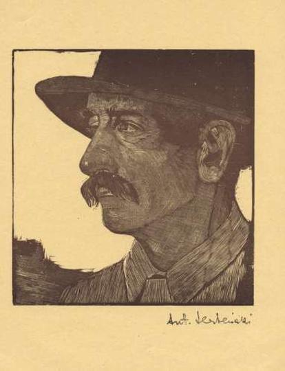 Antoni Serbeński - drzeworyt - portret mężczyzny, stare zdjęcia -
