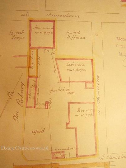 Plan nieruchomości z browarem przy ulicy Strumykowej 8, należącej do państwa ..., stare zdjęcia -