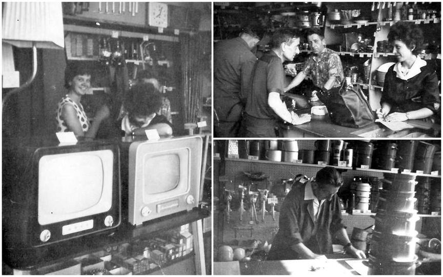 Koniec lat sześćdziesiątych, wnętrze sklepu z artykułami gospodarstwa domowego G..., stare zdjęcia -