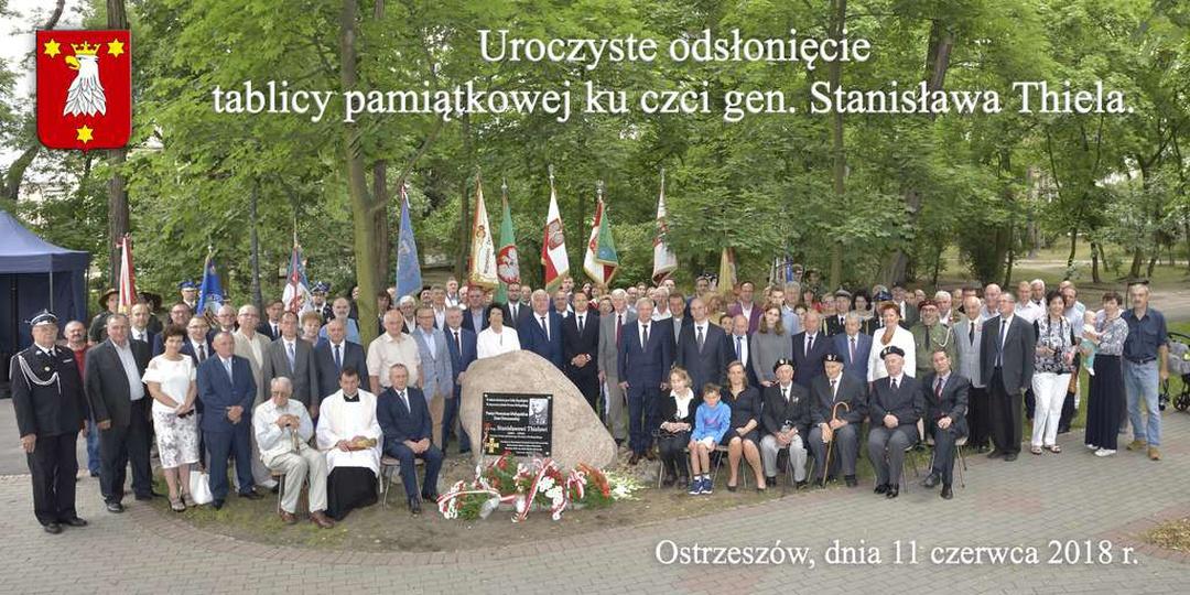 11 czerwca 2018 roku, Ostrzeszów, park miejski. Uroczyste odsłonięcie tablicy pa..., stare zdjęcia -