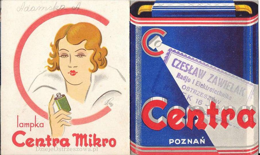 Przedwojenna reklama poznańskiej firmy CENTRA, producenta baterii i akumulatorów..., stare zdjęcia -