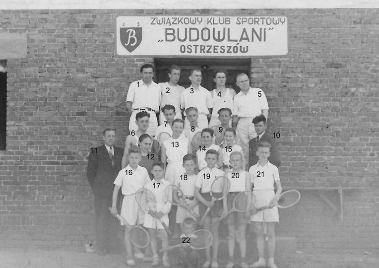"""Związkowy Klub """"Budowlani"""", sekcja tenisa ziemnego, początek lat pięćdziesiątych..., stare zdjęcia -"""