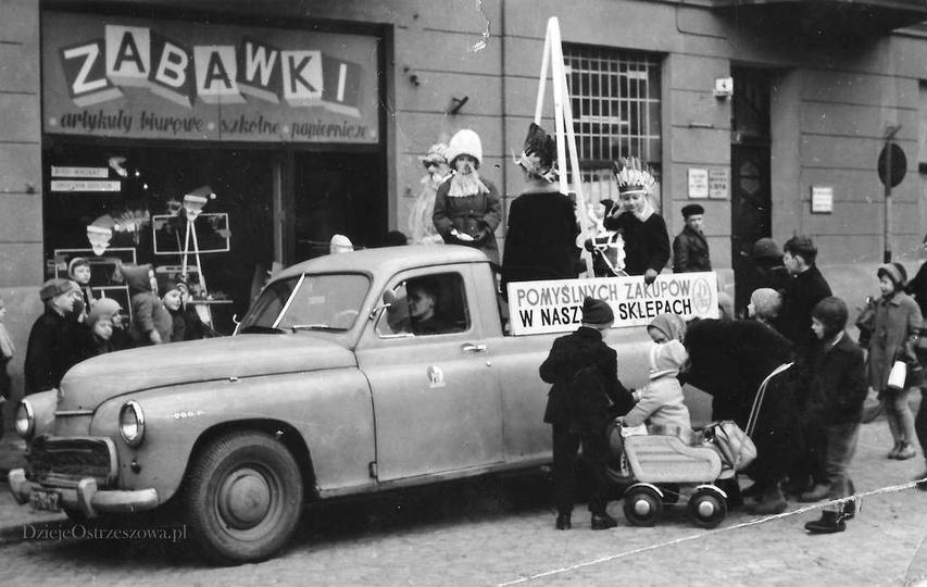 Lata sześćdziesiąte, ulica Boh. Stalingradu (Zamkowa), sklep zabawkowy w kamieni..., stare zdjęcia -