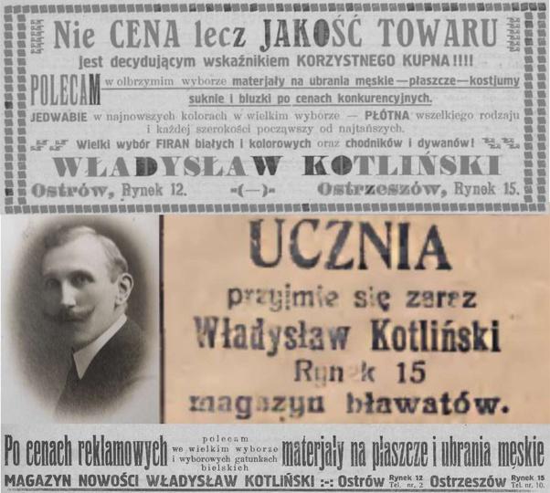 Ogłoszenia prasowe Magazynu bławatów Władysława Kotlińskiego z lat 20-tych XX wi..., stare zdjęcia -
