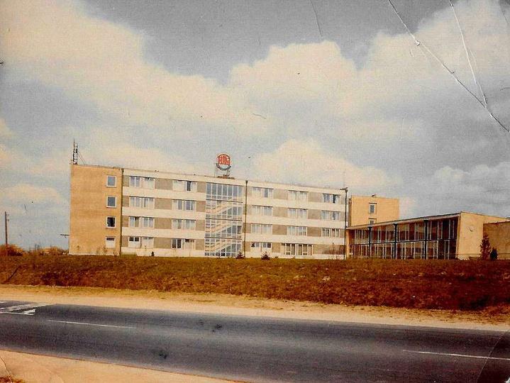 Fumowski hotel ze stołówką. Nie ma jeszcze  rotundy i drugiego budynku które nie..., stare zdjęcia -