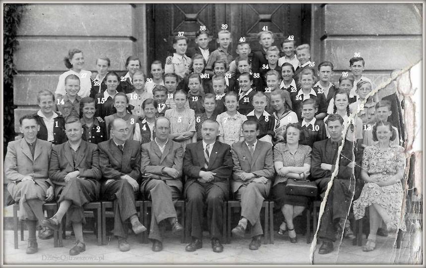 Szkoła Podstawowa nr 2 w Ostrzeszowie. 23.06.1951 rok, klasa VII. Nauczyciele,..., stare zdjęcia -