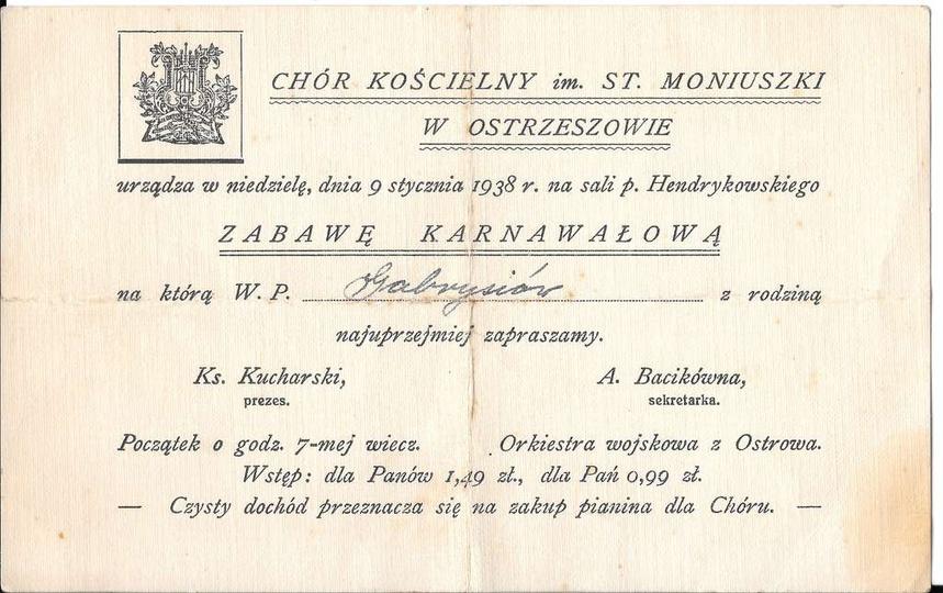 Chór Kościelny im.St. Moniuszki w Ostrzeszowie, urządza w niedzielę, dnia 9 styc..., stare zdjęcia -