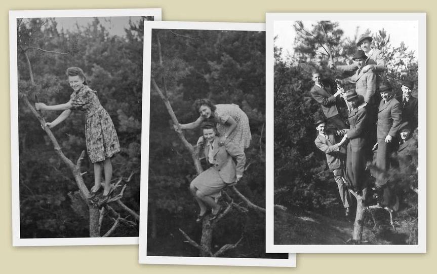 Koniec lat trzydziestych, gdzieś w klasztornym lesie. Na pierwsze drzewo wlazła ..., stare zdjęcia -