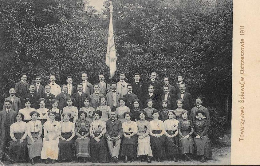 Towarzystwo Śpiewu w Ostrzeszowie, rok 1911, krzyżykiem zaznaczony Wincenty Kozł..., stare zdjęcia -