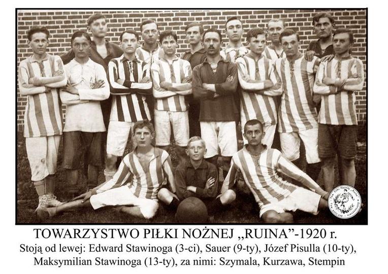 """Towarzystwo Piłki Nożnej  """"RUINA"""" - 1920 r., stare zdjęcia -"""
