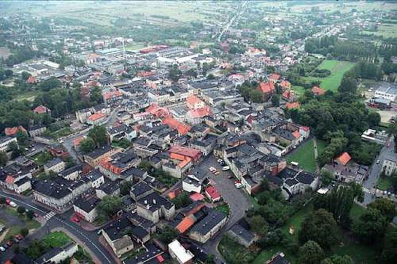 Widok  z lotu ptaka na miasto, stare zdjęcia -