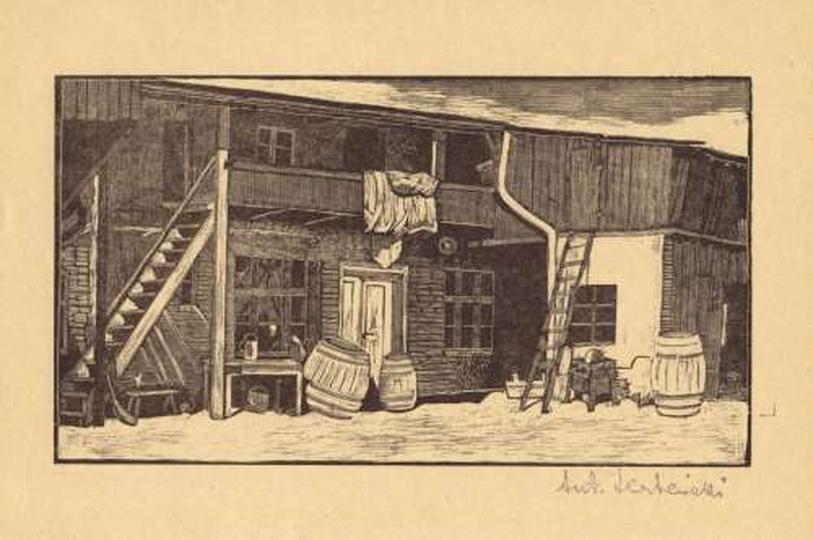 Antoni Serbeński - drzeworyt - podwórko, stare zdjęcia -