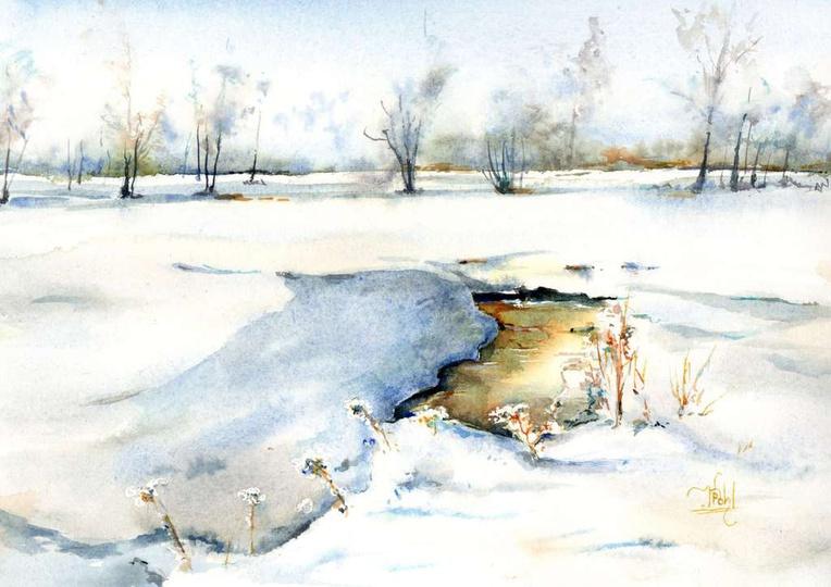 Strzegowa zimową porą - Klaudiusz Pohl Akwarela na podstawie zdjęcia wykonanego..., stare zdjęcia -
