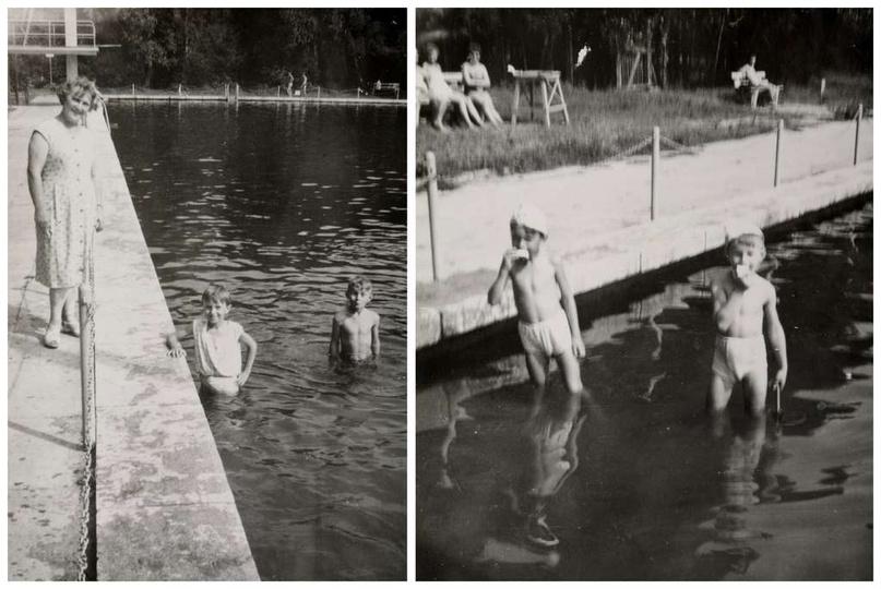 Ostrzeszowski basen, lata pięćdziesiąte. Kąpielisko już po gruntownej przebudowi..., stare zdjęcia -