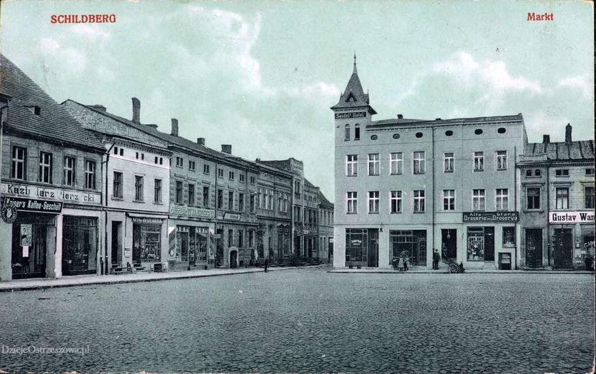 Rynek w Ostrzeszowie, początek XX wieku., stare zdjęcia -