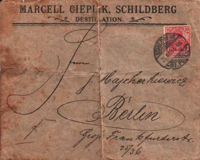 Koperta Marcell Cieplik Schildberg, Destillation 1903r, stare zdjęcia -