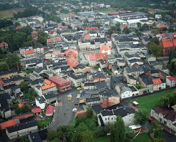 Widok z loty ptaka na centrum, stare zdjęcia -