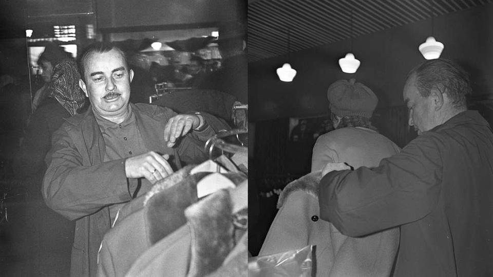 Grudzień 1970 rok, Mirosław Zawartko kierownik sklepu odzieżowego na Rynku w kam..., stare zdjęcia -
