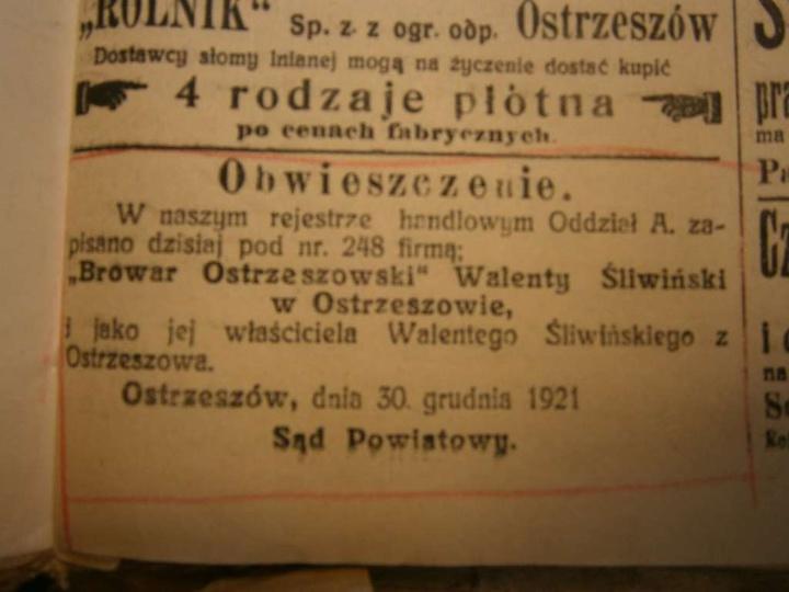 Gazeta Ostrzeszowska z 14.01.1922 r. Źródło: Archiwum Państwowe w Kaliszu. , stare zdjęcia -