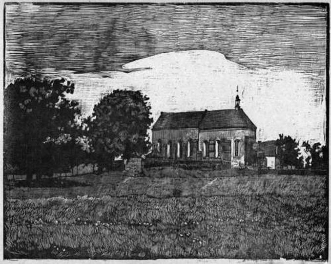 Antoni Serbeński, Klasztor w Ostrzeszowie, drzeworyt, stare zdjęcia -