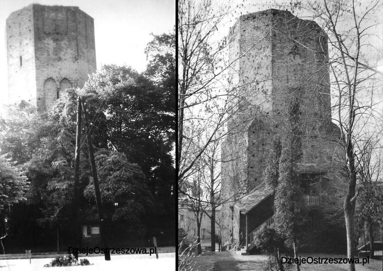 Koniec lat sześćdziesiątych, widok ostrzeszowskiej baszty od ulicy Boh. Stalingr..., stare zdjęcia -