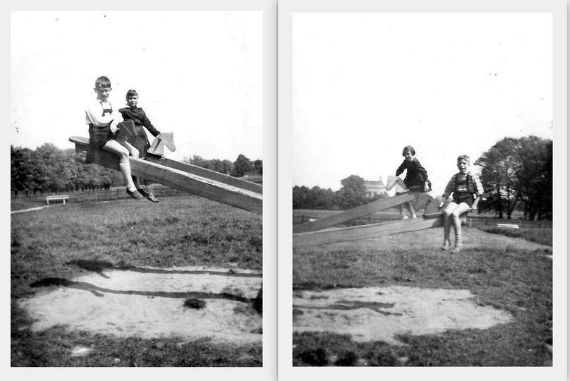 Rok 1961, uczniowie klasy IV B ze Sz.P. nr1, bawią się na placu zabaw przy ulicy..., stare zdjęcia -