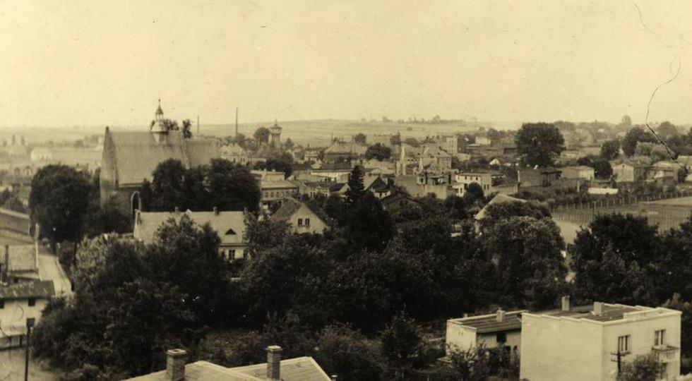 Panorama Ostrzeszowa wykonana z budynku internatu ks. Salezjanów (obecnie ZSZ nr..., stare zdjęcia -
