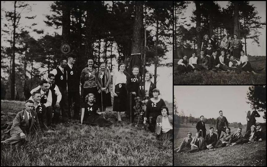Początek lat trzydziestych, mieszkańcy Ostrzeszowa na wycieczce gdzieś w okolicz..., stare zdjęcia -