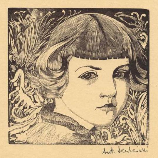 Antoni Serbeński - drzeworyt - portret dziewczynki, stare zdjęcia -