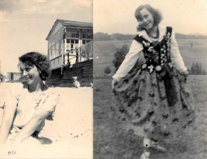 Na zdjęciach widzimy Marię Golusińską, mieszkankę Ostrzeszowa, przedwojenną foto..., stare zdjęcia -