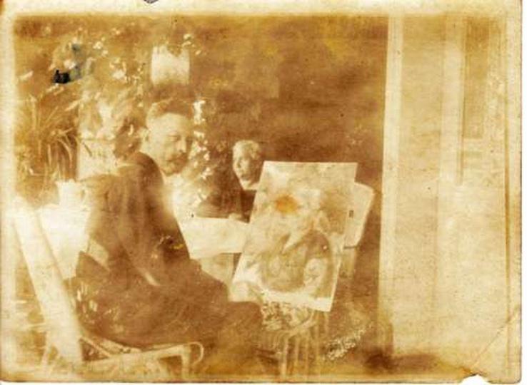 Antoni Serbeński przy pracy, stare zdjęcia -