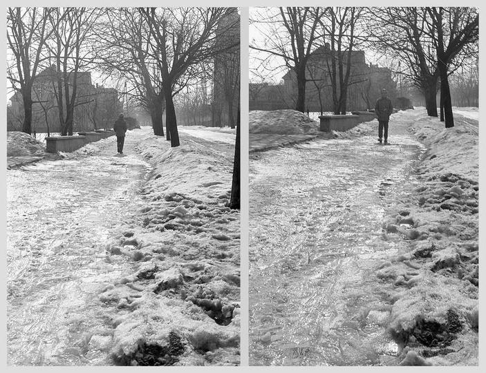 Zima 1970 roku, ulica Sikorskiego i chodnik przy bursie skuty lodem. Zdj. Czesł..., stare zdjęcia -