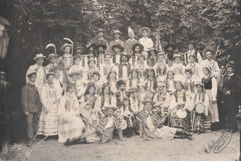 Dożynki w Ostrzeszowie, rok 1907. Pierwszy od lewej: Antoni Wodniakowski, wyżej ..., stare zdjęcia -