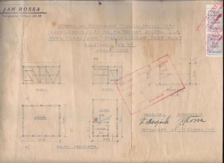 Rysunek na pobudowanie  tymczasowych, prowizorycznych szop na materiały budowlan..., stare zdjęcia -