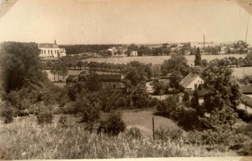 Widok z Baszty na majątek pp. Hęćków. Okres być może 1920-30., stare zdjęcia -