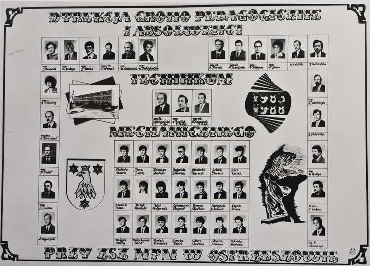 Dyrekcja, Rada Pedagogiczna i Absolwenci Technikum Mechanicznego przy ZSZ MPM w ..., stare zdjęcia -