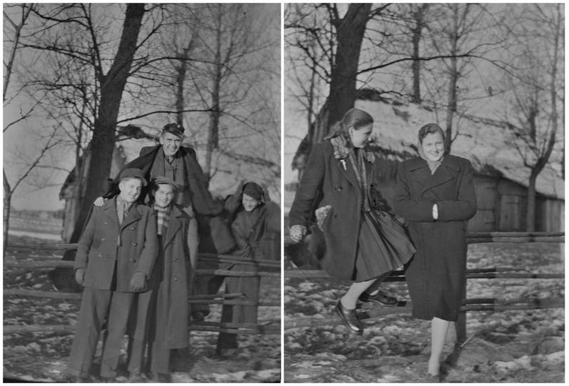 """Koniec lat czterdziestych. Na zdjęciu """"męskim""""  od lewej: Zenon Szwacki, Henryk ..., stare zdjęcia -"""